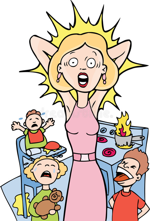 Stressed Mom at Home royalty free illustration