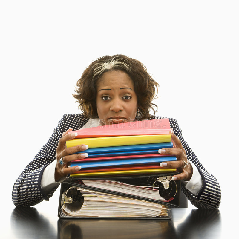 Stressed out businesswoman. stock image