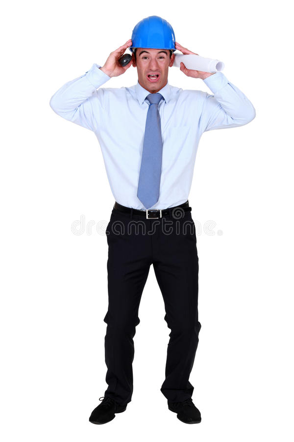 Stressed out engineer royalty free stock photos