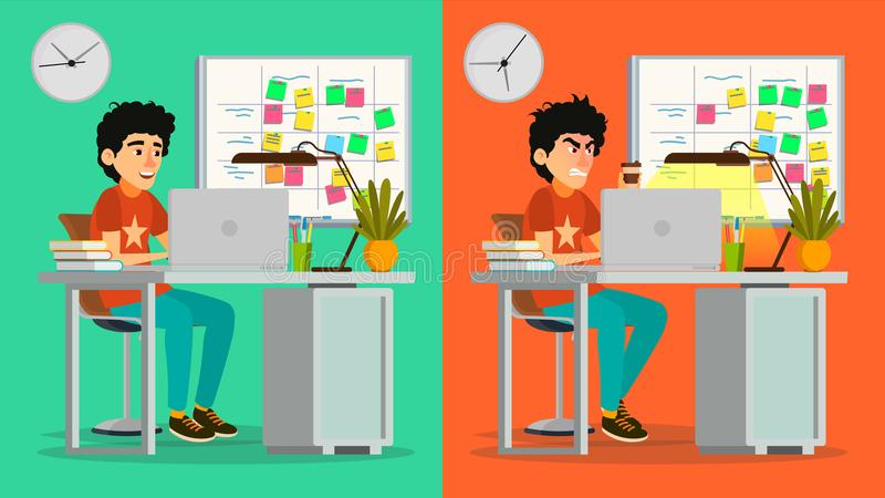 Stressed Out Man Vector. Young Coder Working At Office. Stressful Work, Job. Tired Junior Programmer. Person. Hard royalty free illustration