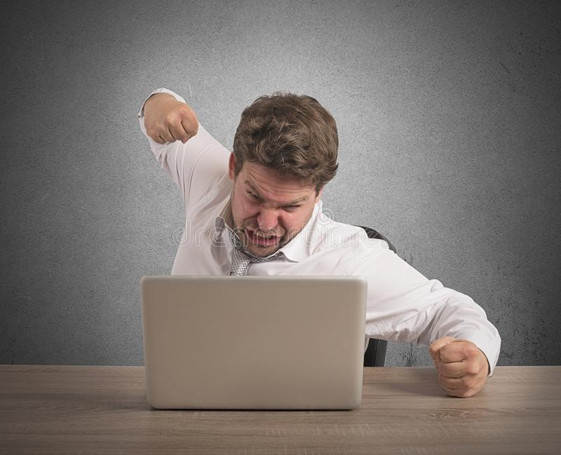 Stressed and overworked businessman royalty free stock photos