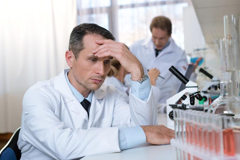 Stressed Scientist In Lab Stock Photo Image Of Working 105863864