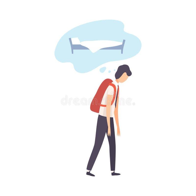 Stressed Sleepy Teenage Guy Dreaming of Sleep Vector Illustration. On White Background royalty free illustration