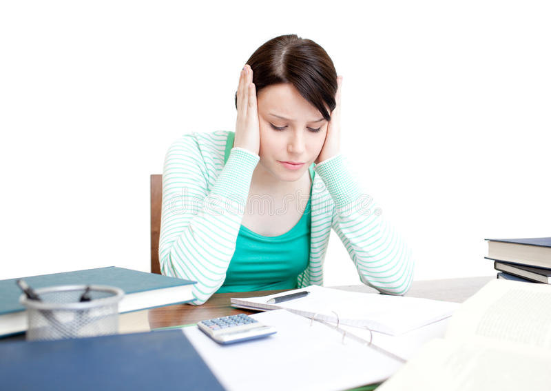 Download Stressed Student Doing Her Homework Stock Photo - Image: 14024126