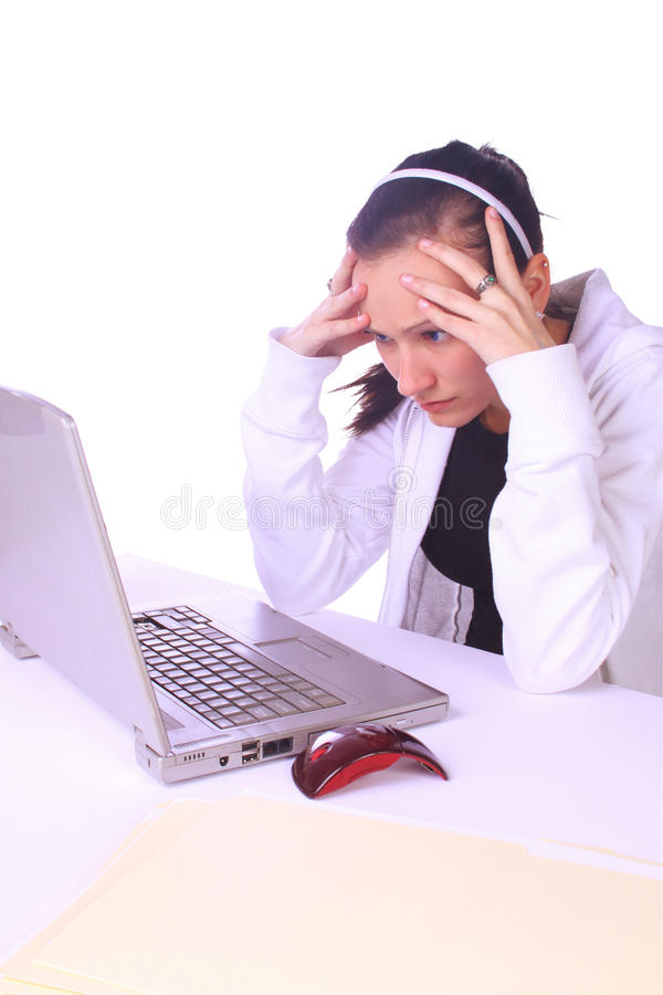 Download Stressed Teenager With A Laptop Stock Photo - Image: 12125426