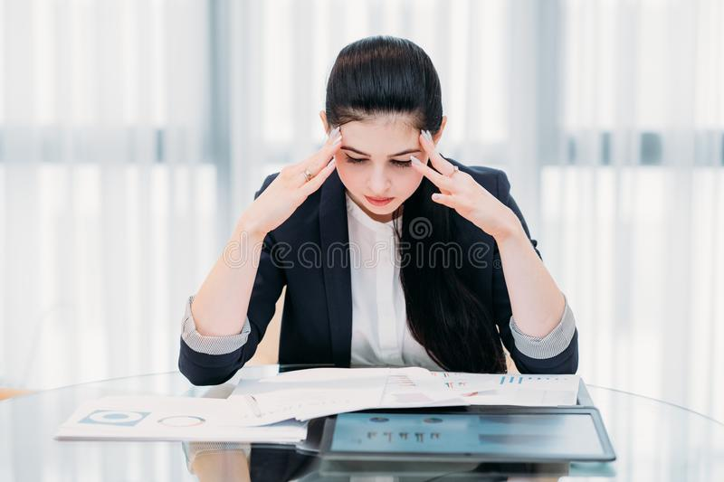 Stressed tired office business woman head hands stock image