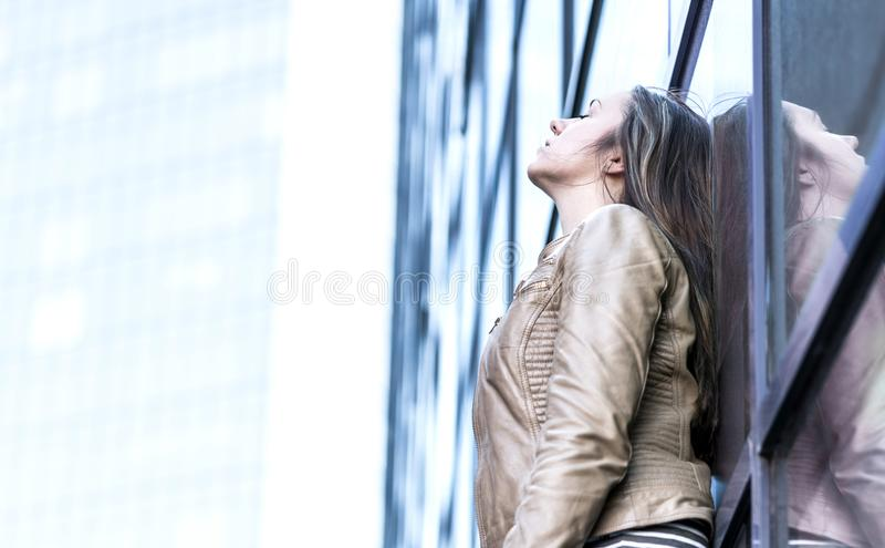 Stressed, upset, depressed and emotional woman royalty free stock images