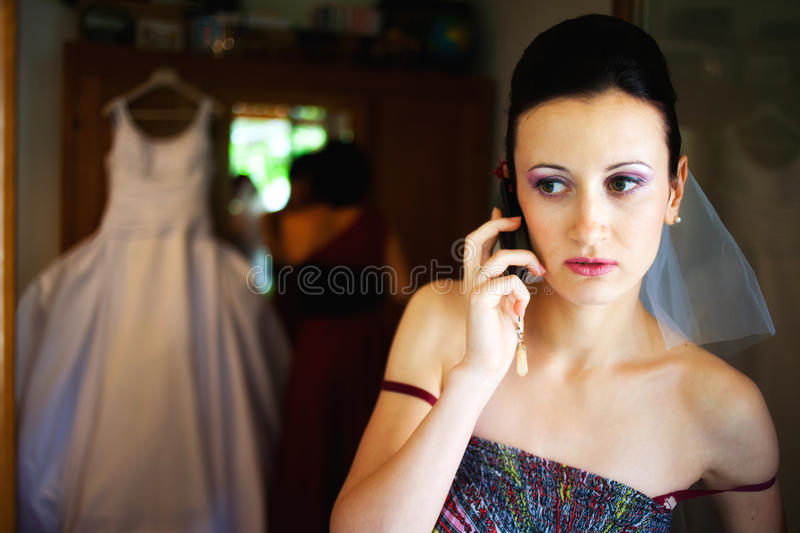 Stressed wedding day stock photography