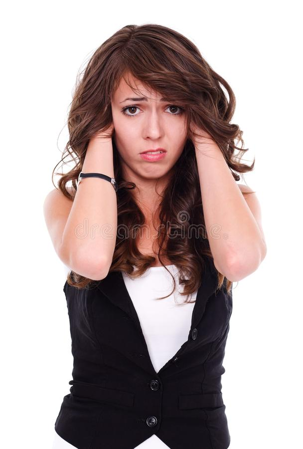 Stressed woman royalty free stock image
