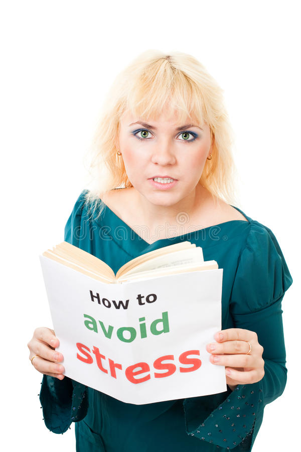 Download Stressed woman with book stock photo. Image of expression - 12701590