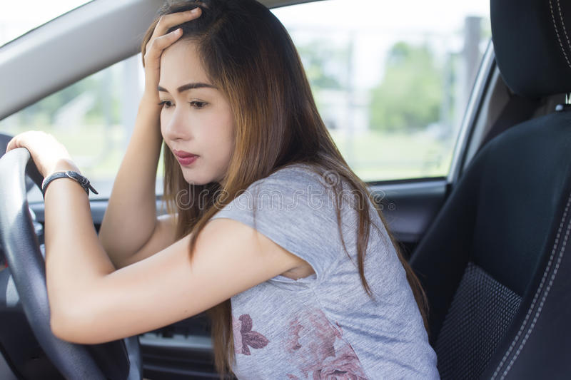 Stressed woman driver stock photos