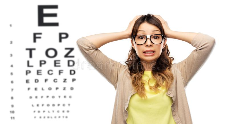 Stressed woman in glasses over eye test chart. Stress, education and school concept - asian woman or student in glasses fixed by tape holding to her head over royalty free stock photo