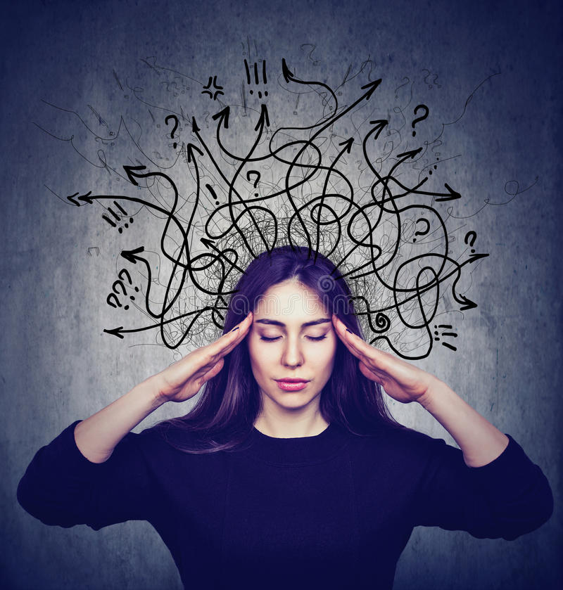 Stressed woman has too many thoughts stock images