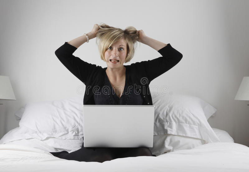 Download Stressed Woman With Laptop Royalty Free Stock Image - Image: 9596706