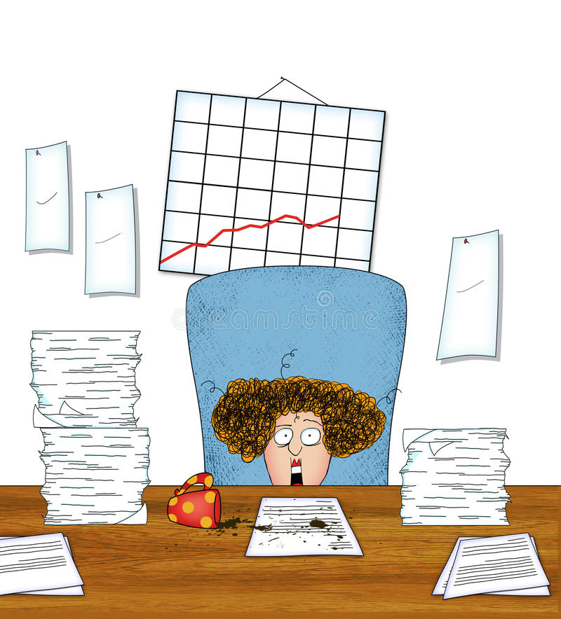 Stressed woman office worker with piles of paperwork stock download stressed woman office worker with piles of paperwork stock illustration illustration of curly publicscrutiny Images
