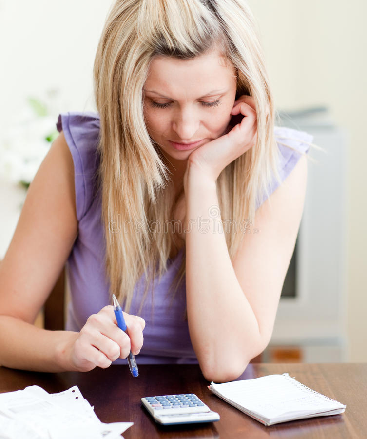 Download Stressed Woman Paying Her Bills Stock Image - Image of budget, problems: 13766633