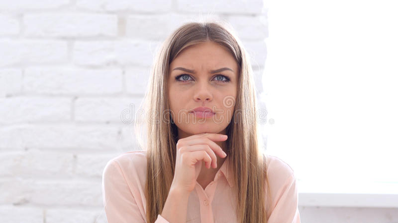 Stressed Woman Thinking under Pressure royalty free stock photos