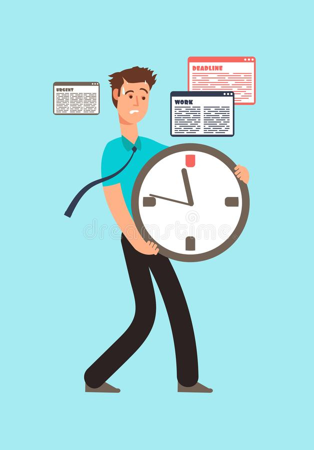 Stressed worker holding clock with running out time. Deadline vector concept. Worker stress holding big watch illustration vector illustration