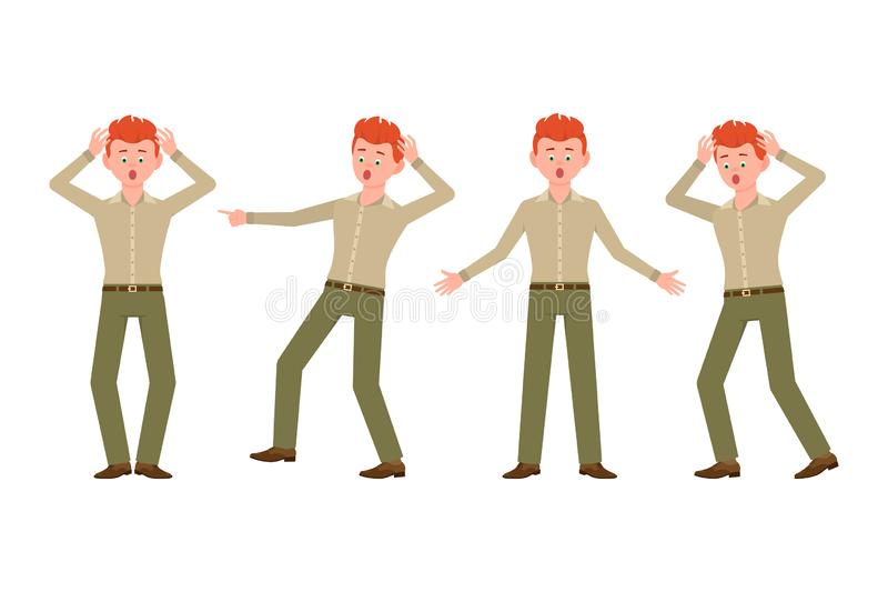 Stressed, worry, nervous boy character set. Surprised, shocked, scared, under the pressure red hair young man vector illustration stock illustration