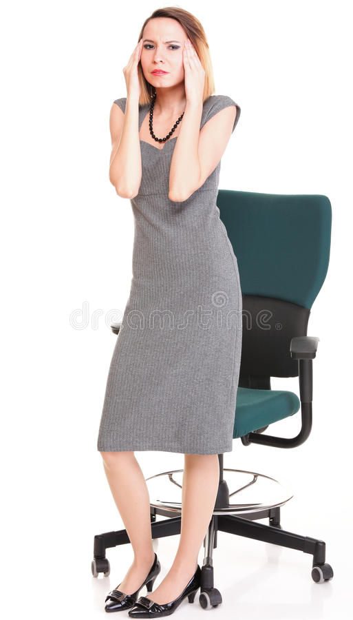Stressed young attractive businesswoman isolated royalty free stock photo