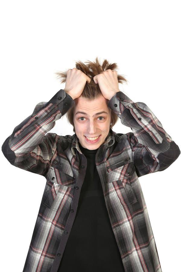 Stressed young caucasian man stock photos