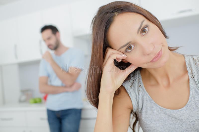 Stressed young couple quarrel at psychologist royalty free stock image