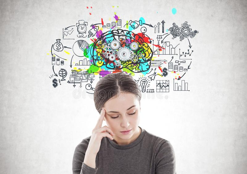 Stressed young woman in brown, cog brain stock image