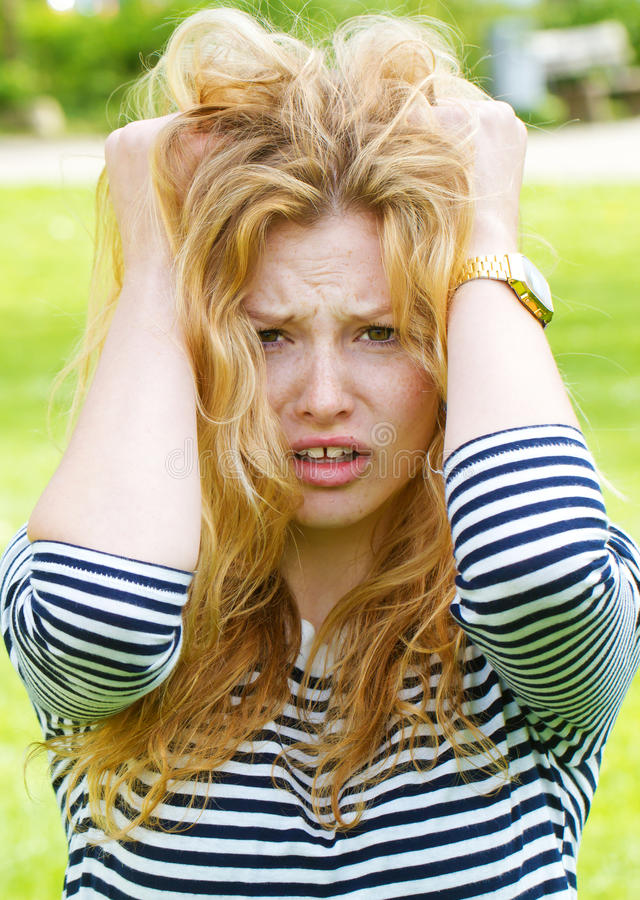 Stressed, young woman royalty free stock photo