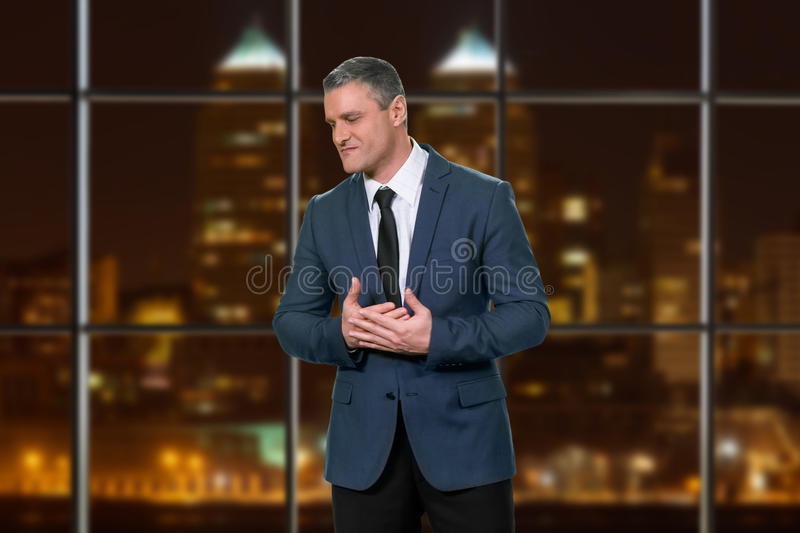 Stressful adult businessman wearing suit. stock images