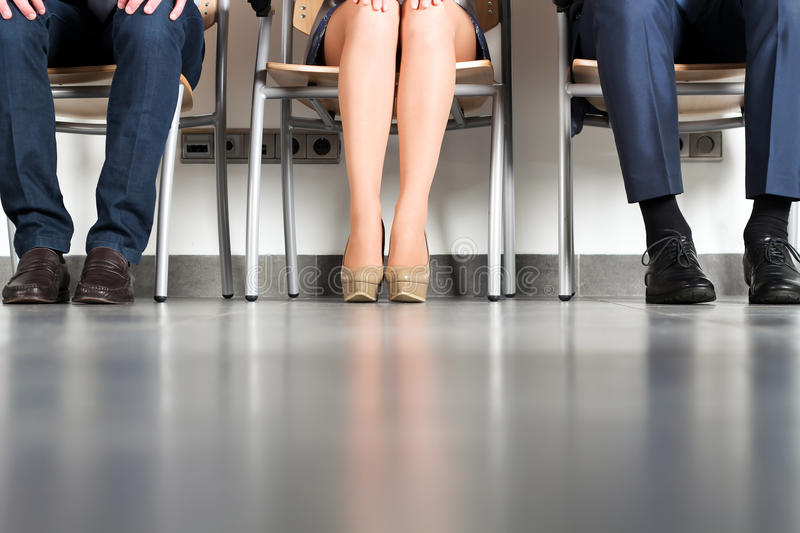Stressful business people waiting for job interview royalty free stock images