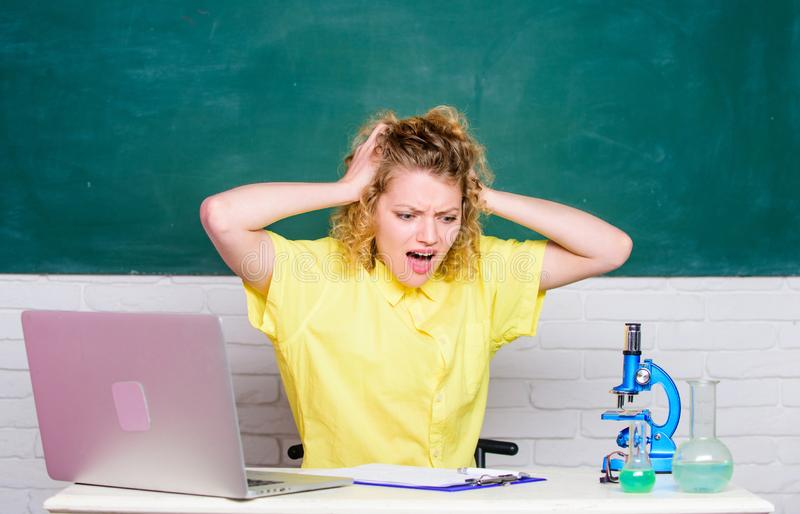 Stressful day. Stressful student life. Teacher stressful occupation. Mental health and stress influence. Girl emotional stock image