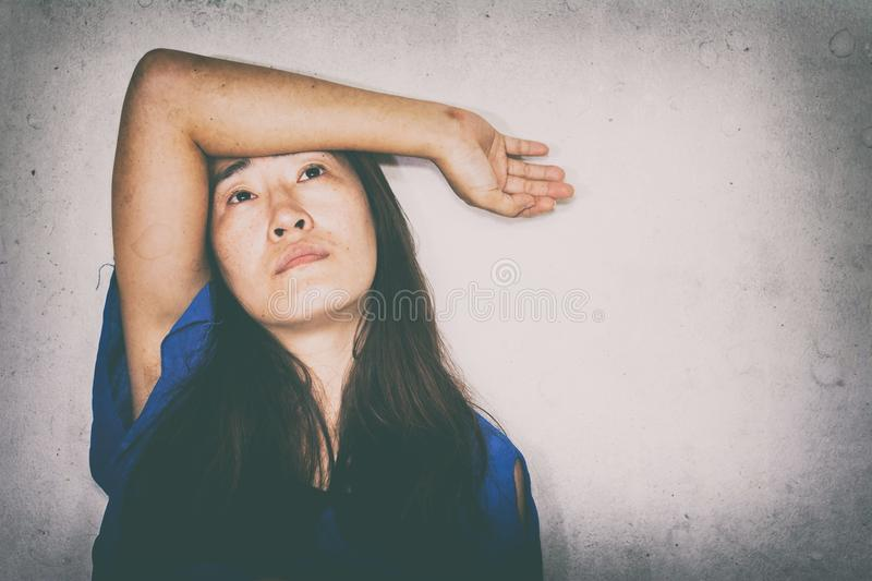 stressful and hopeless woman stock photography
