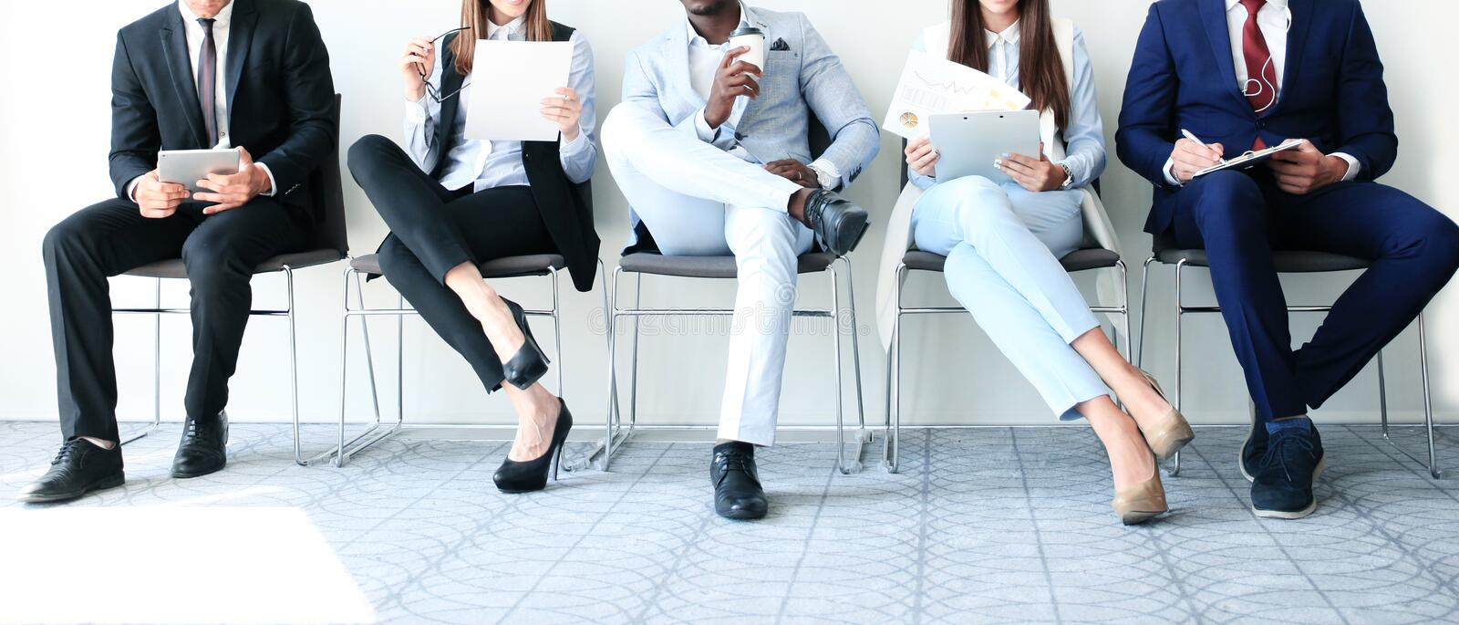 Stressful people waiting for job interview. stock images