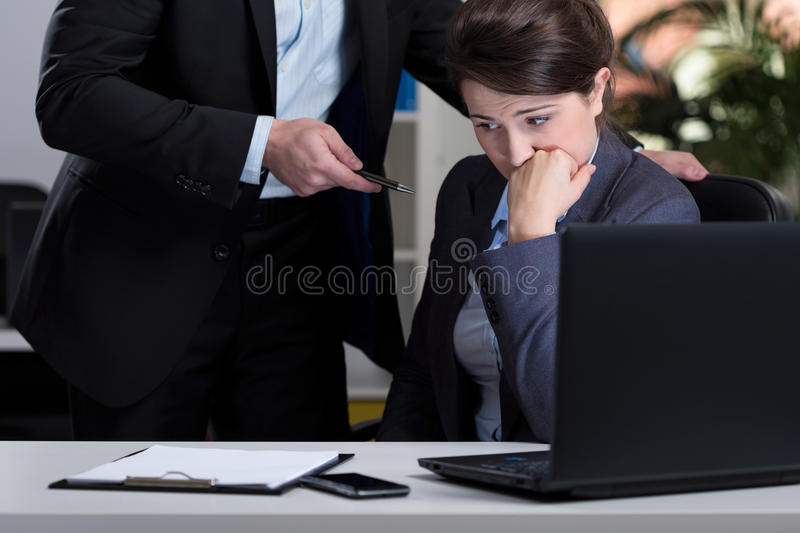 Stressful situation at work. Horizontal view of stressful situation at work stock photos