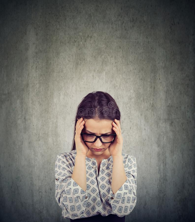 Stressful woman suffering from depression royalty free stock image