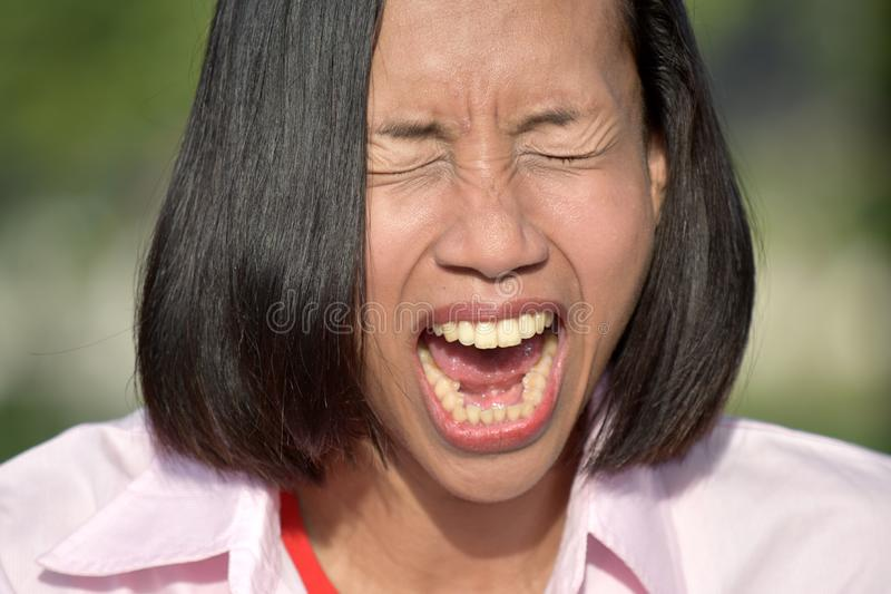 Stressful Youthful Asian Person. An attractive and asian person royalty free stock photo