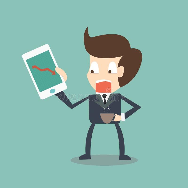 Stressig affärsman som ser pilstatistik på skärmen av smart vektor illustrationer