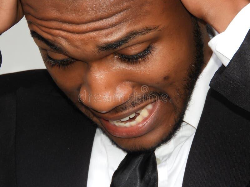 Stresująca Biznesowa Afrykańska osoba fotografia stock
