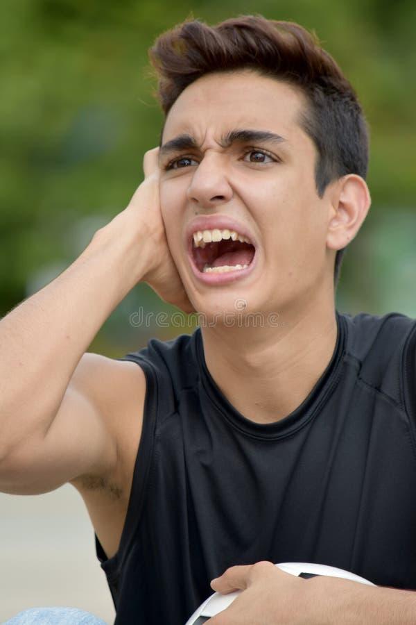 Stresujący Męski gracz piłki nożnej zdjęcie stock