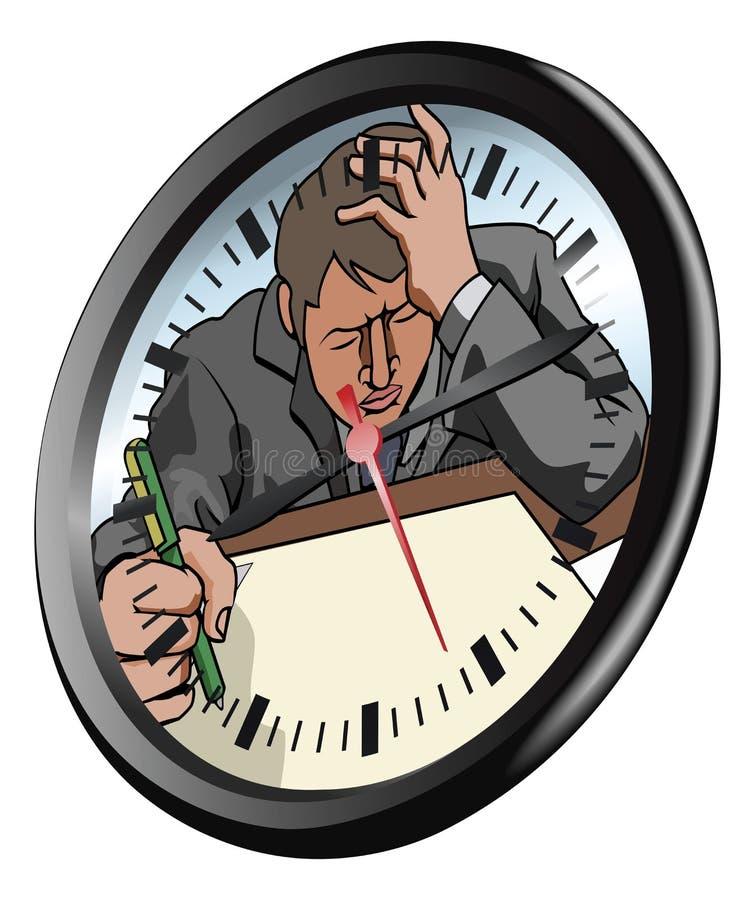 stresujący się pojęcie zegarowy mężczyzna ilustracji
