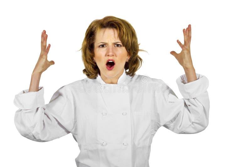 Stresujący się stresować się żeński szef kuchni fotografia royalty free