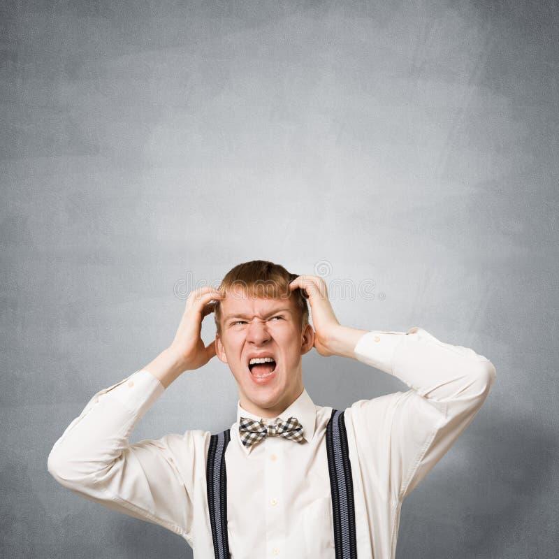 Stresuj?cy nastolatek krzyczy z panik? fotografia royalty free
