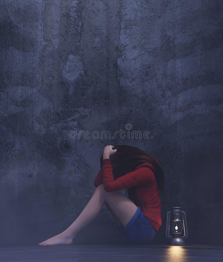 Stresuje się dziewczyny siedzi samotnie w ciemnym pokoju ilustracja wektor