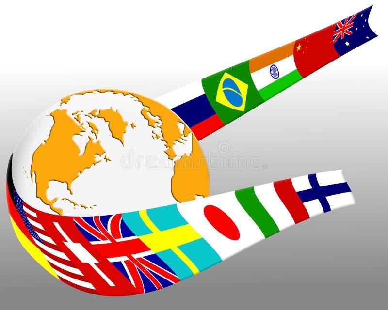 streszczenie globe bandery royalty ilustracja