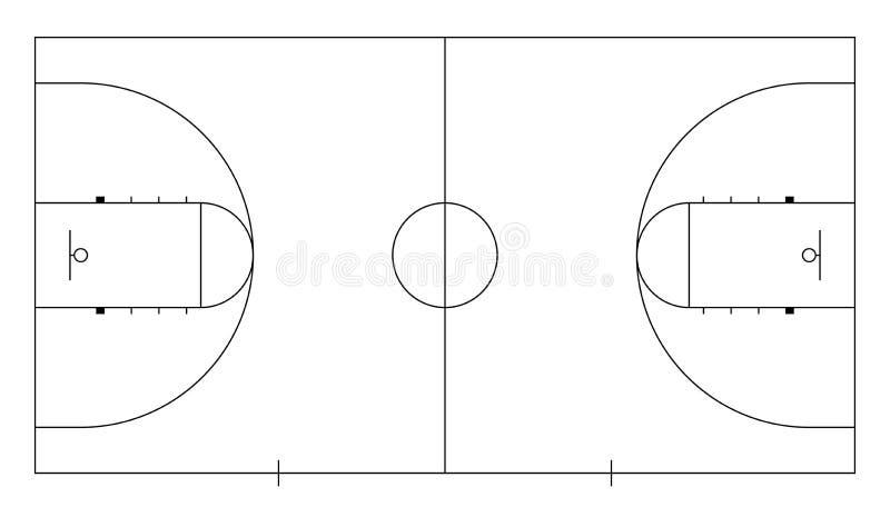 Stret basketdomstol Linje konst Basket med belägger med metall påskyndar stock illustrationer