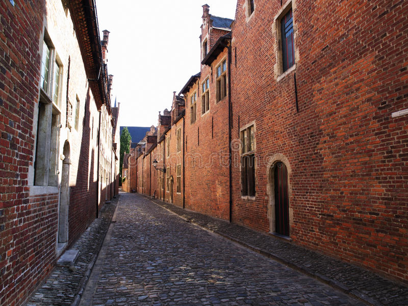 Street in Grand Béguinage in Leuven royalty free stock photo