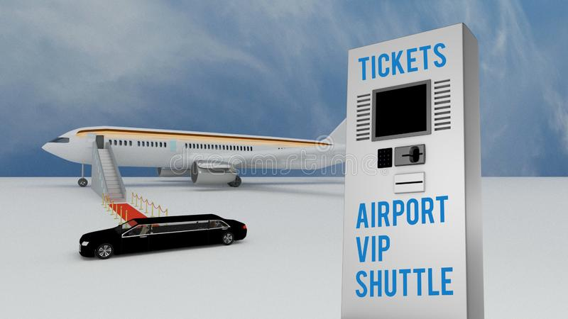 Stretch limo delivering VIP airport passengers vector illustration
