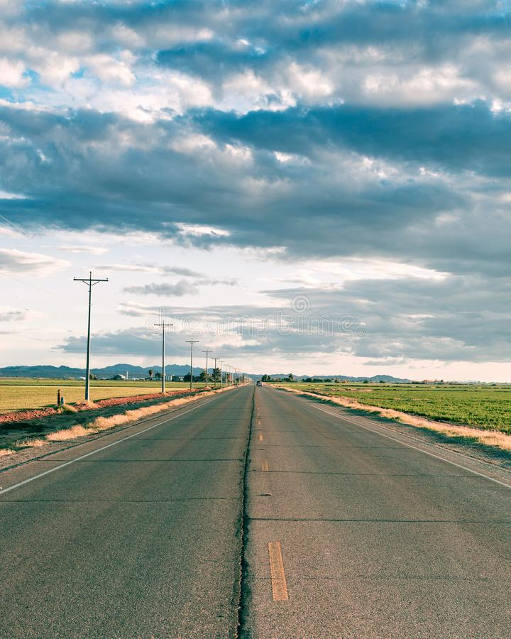 A stretch of lonely road. I`m going home. royalty free stock photos