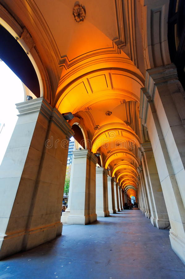 Stretch of pillars of old building royalty free stock photo