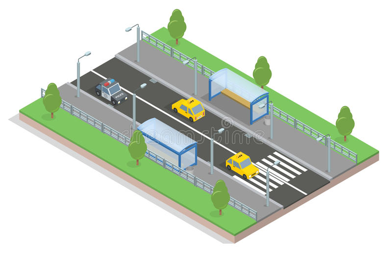 Stretch of road. bus stop. 3d isometric Isolated white background. 3d isometric stretch of road to the bus stop and machinery, lawn and trees, crosswalk and royalty free illustration